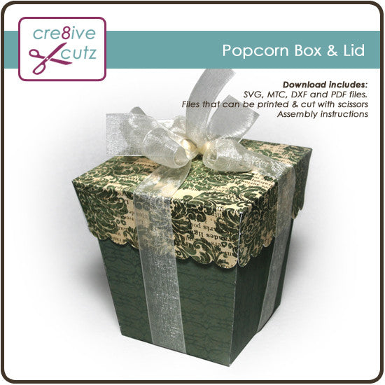 Popcorn Box & Lid - Free 3D Papercrafting Project