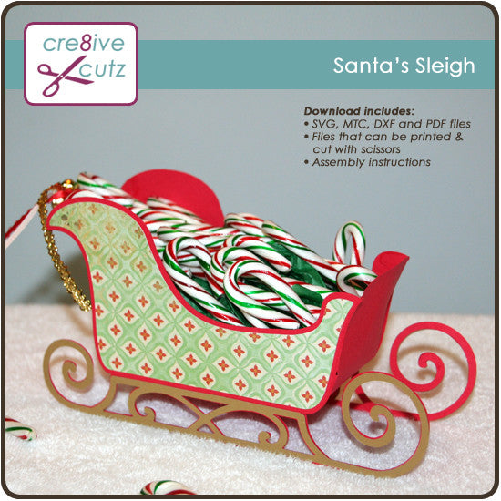 Side view of Santa's Sleigh 3D SVG Gift Box
