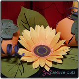 Closeup of flower on 3D Paper Thanksgiving table centerpiece