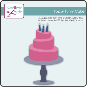 Pink three tiered Topsy Turvy Cake on cake stand with Candles