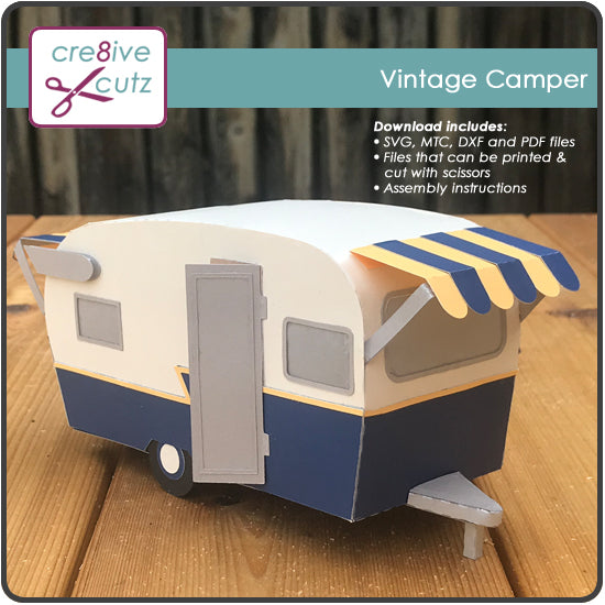 Front & side view of vintage travel trailer gift box