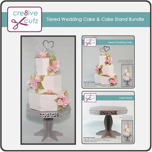 Tiered Wedding Cake & Cake Stand 3D SVG Project