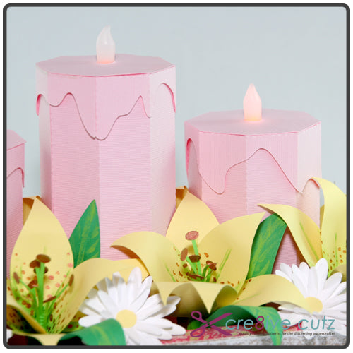 Cre8ive Cutz 3d Svg Cutting Files For Electronic Cutting Machines Spring Floral Candle Centerpiece 3d Papercraft Project