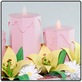Candles and spring flowers on centerpiece papercraft project