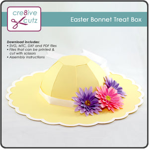 SVG, Cricut and other electronic cutting file compatible paper craft project of Easter hat with hidden gift box.