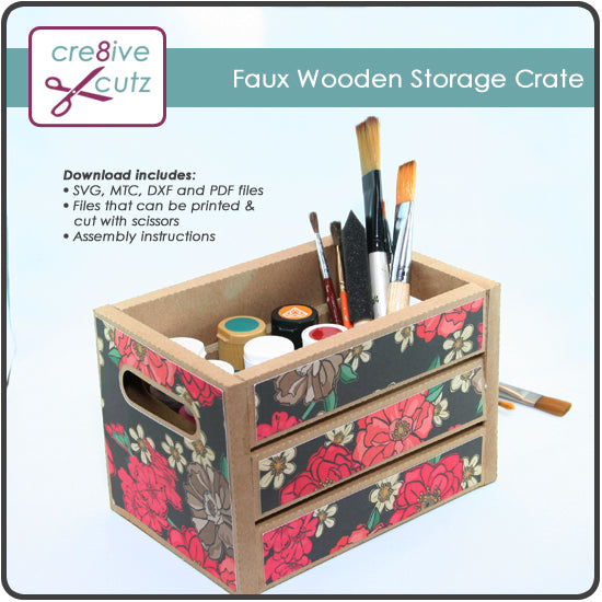 3D Faux wood storage crate SVG papercrafting pattern