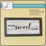 3D Home Sweet Home framed sign made of paper but looks like wood