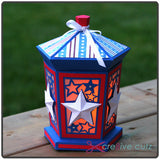 Front view of Independence Day lantern with Candle for Cricut