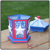 Front View of 4th Of July Luminary SVG papercraft project with lid off