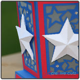 Close up of dimensional stars on side of paper luminary for the 4th of July