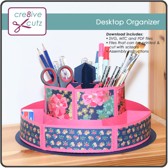 3D Rotating Desktop Organizer 3D SVG Papercrafting Pattern