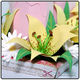 Close up of lily on 3D Spring Floral Centerpiece SVG Project