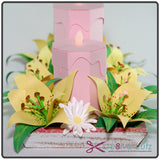 Side view of candles, flowers and tray on SVG centerpiece project