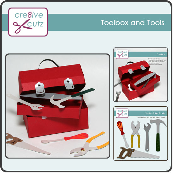 Paper Tool Box and Tool Set Craft Pattern for Cricut and Silhouette