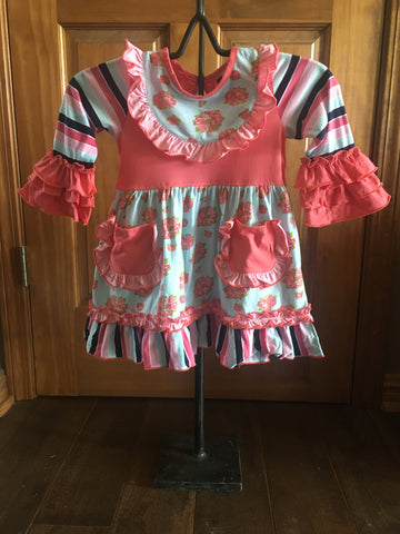 Rose Garden Bib Dress w/pockets