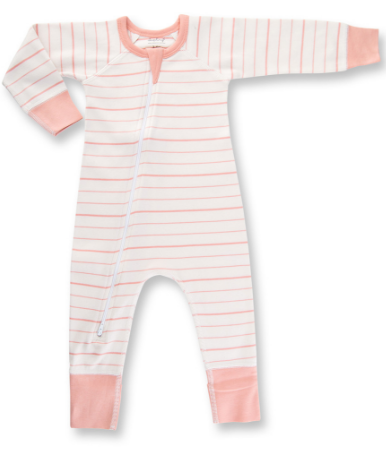 Sapling Peach French Stripe Zip Romper