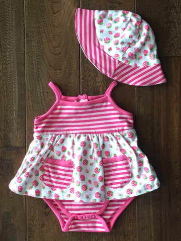 Three Sisters Strawberry Popover Dress w/Hat