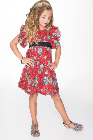 Yo Baby Red and Black Frill Sleeve Dress