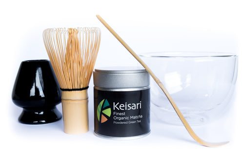 Keisari Himeji Gift Set - Bamboo matcha whisk, porcelain whisk stand, double wall glass bowl, bamboo matcha scoop