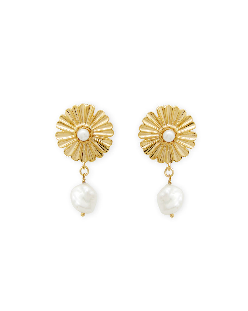 Sunflower Pearl Earrings