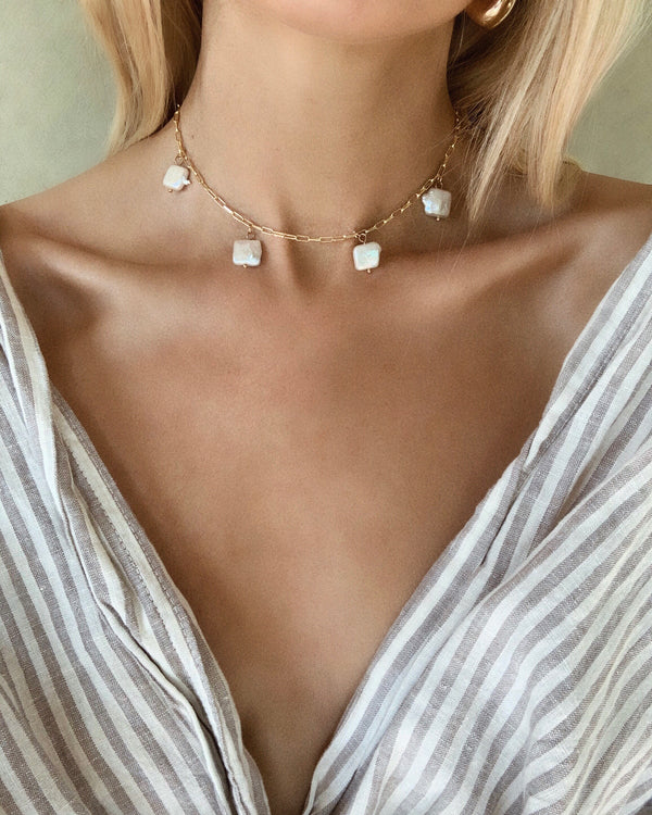 Zara Pearl Charm Necklace