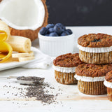 Banana Bam Bam - banana blueberry paleo muffins, made with almonds & sweetened with dates. Muffin Revolution muffins are grain-free, gluten-free, dairy-free, and soy-free.