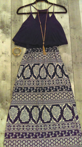 Navy Blue & White Maxi Dress (S)