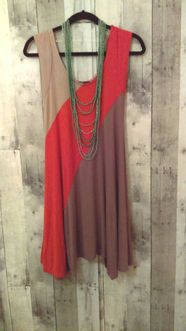 Cognac and Burnt Orange Tunic Dress (S)