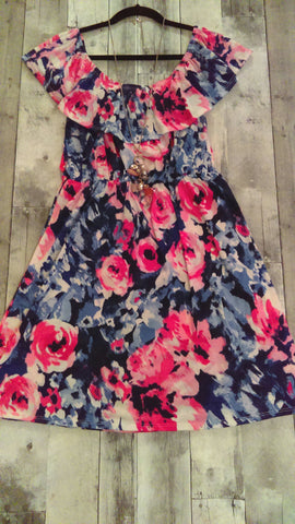 Floral Off Shoulder Dress (L)