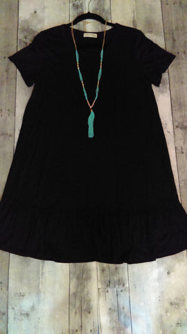 Black Short Sleeve Tunic Dress (XL)