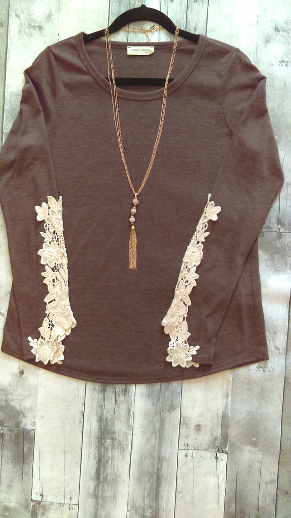 Long Sleeve Lace Detail Top (L)