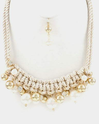 Braided Rope Faux Pearl Set