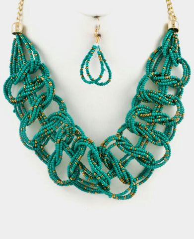 Infinity Braid Bib Necklace Set