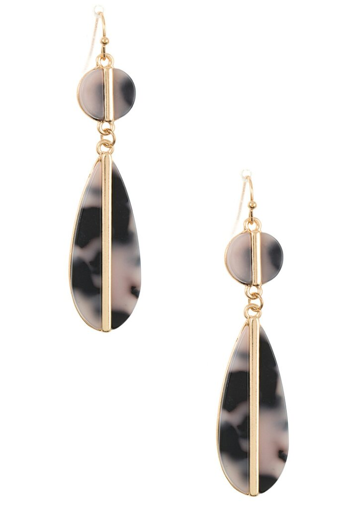 Double Drop Ivory Black Earrings