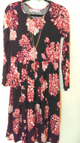 Fall Floral Pocket Dress (L)