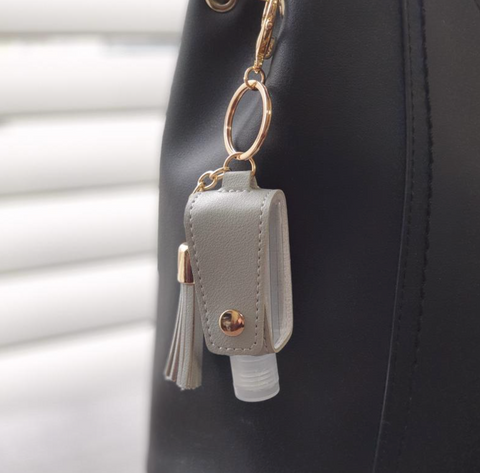 hand sanitizer holder clip for women's bag