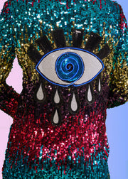 Women's festival jacket with a light up evil eye on a sequin duster