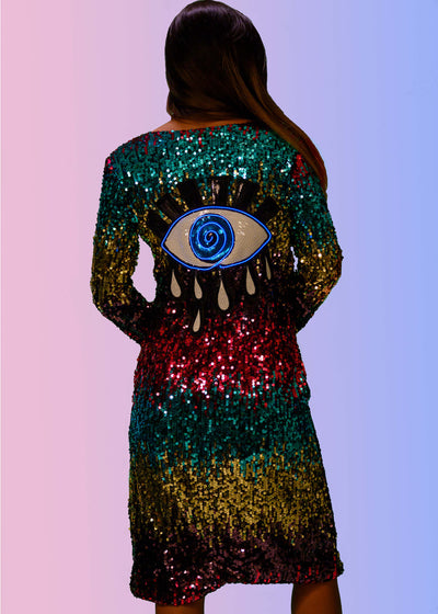 Sequin evil eye design on a long rainbow sequin duster that lights up with 3 modes