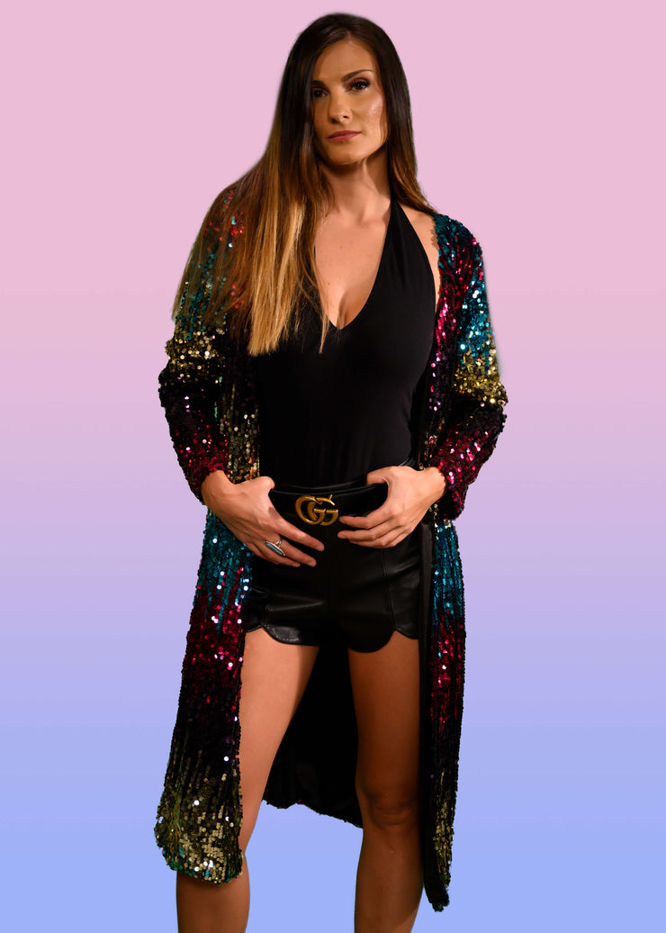 women's sequin duster jacket