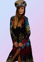 long sequin duster with rainbow sequins