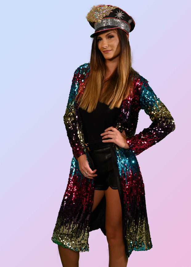 Sequin duster coat with a neon evil eye on the back
