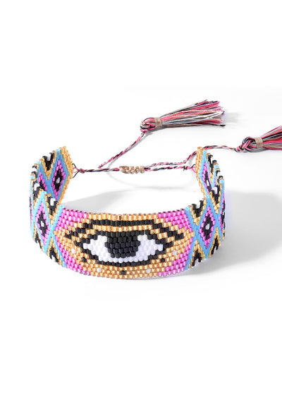 miyuki beaded evil eye bracelet for women multicolored