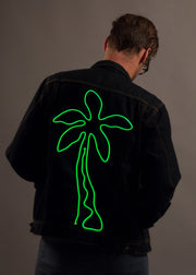 Mens light up palm tree denim festival outfit jacket