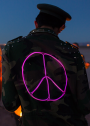 Light up peace sign festival jacket on camo print with studs