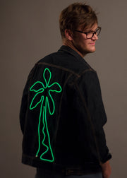 Neon light-up palm tree design on men's darkwash denim jacket