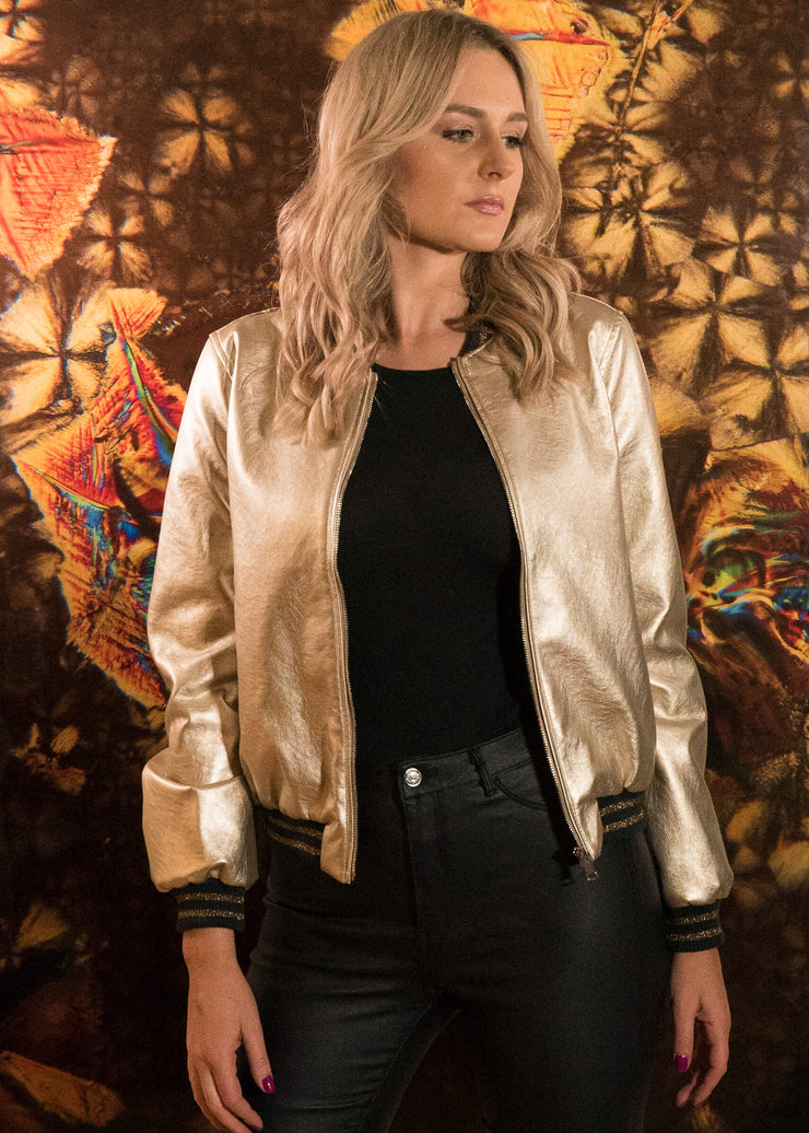 vegan leather vegas gold bomber jacker