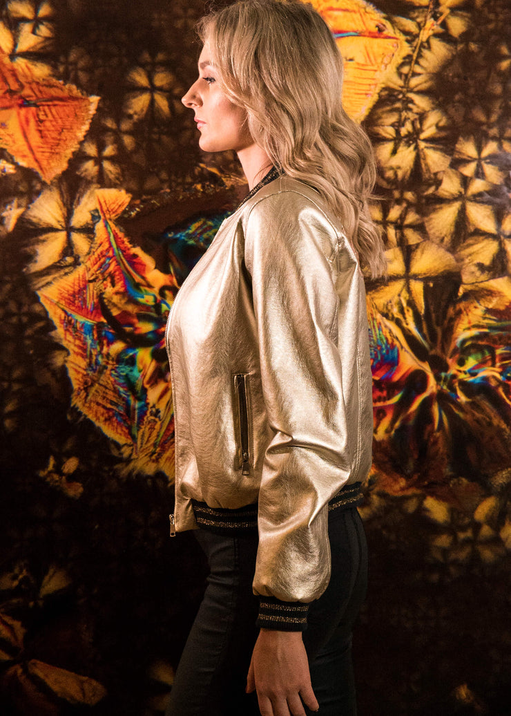 soft vegan leather golden knights jacket