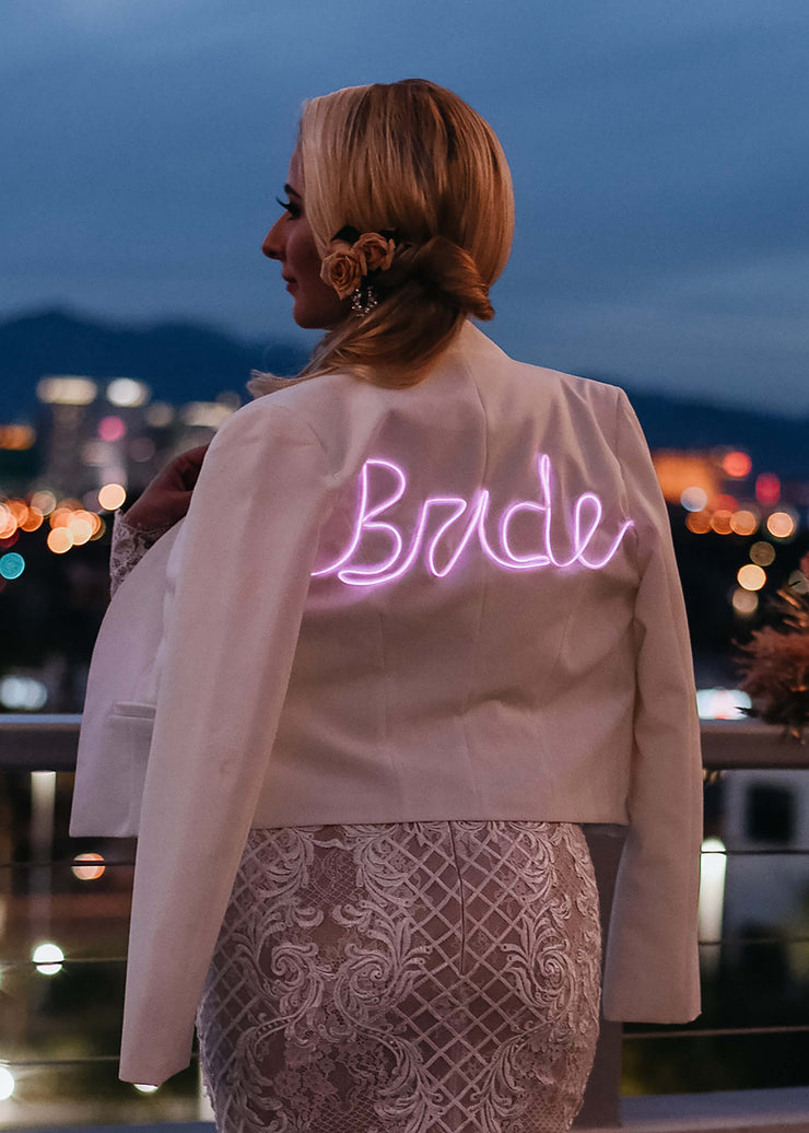 Women's bridal jacket with light up bride text