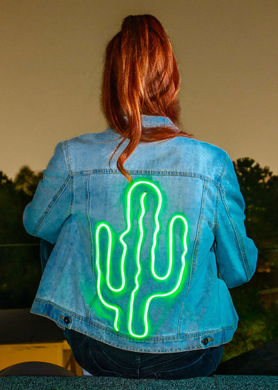 Light-up Cactus Denim Jacket with 3 light modes