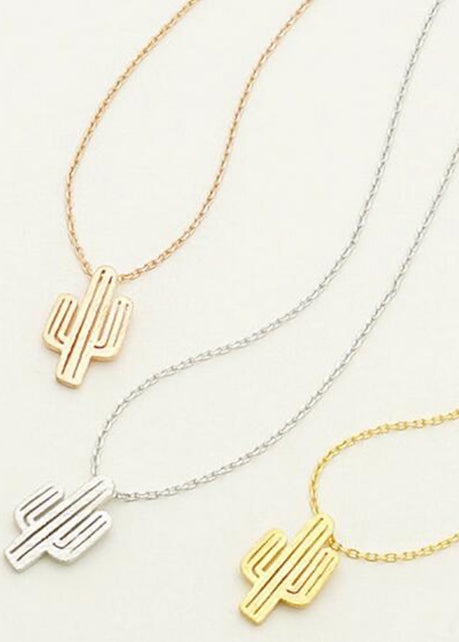 Cactus necklace in gold, rose gold and silver women adjustable length